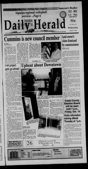 Primary view of Sapulpa Daily Herald (Sapulpa, Okla.), Vol. 94, No. 22, Ed. 1 Wednesday, October 8, 2008