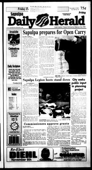 Primary view of Sapulpa Daily Herald (Sapulpa, Okla.), Vol. 98, No. 35, Ed. 1 Friday, November 2, 2012