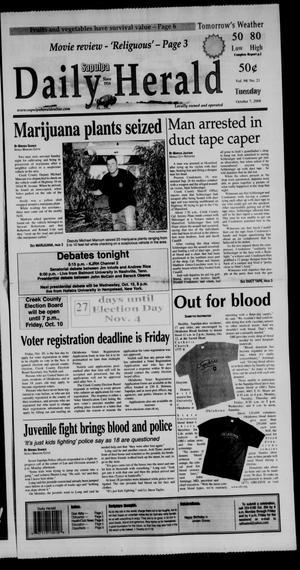 Primary view of Sapulpa Daily Herald (Sapulpa, Okla.), Vol. 94, No. 21, Ed. 1 Tuesday, October 7, 2008
