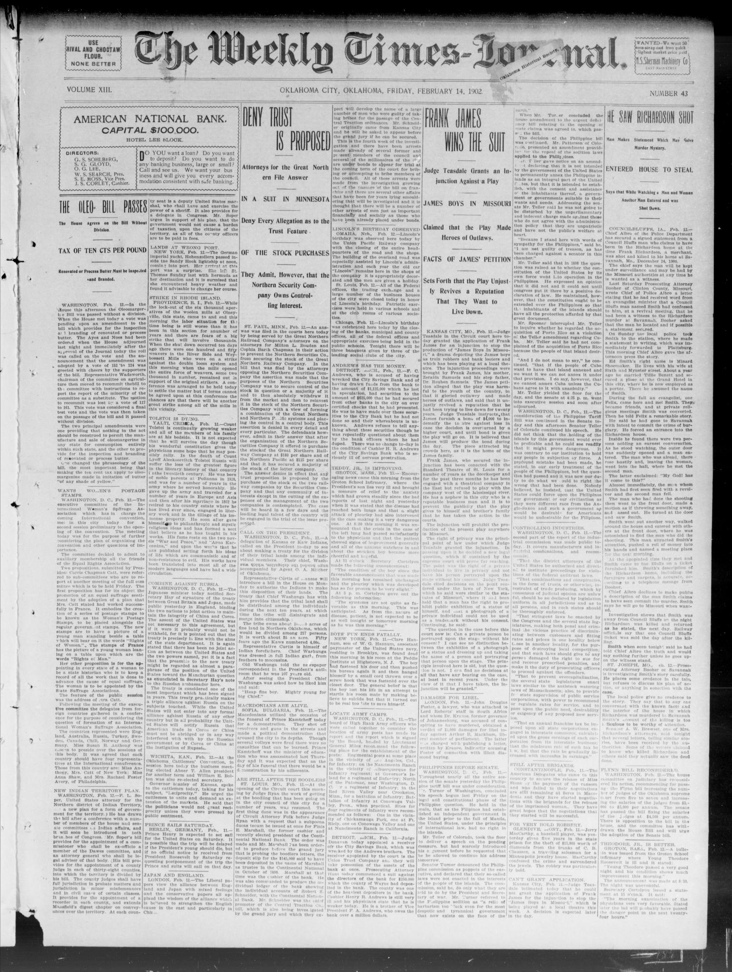 The Weekly Times-Journal. (Oklahoma City, Okla.), Vol. 13, No. 43, Ed. 1 Friday, February 14, 1902                                                                                                      [Sequence #]: 1 of 8
