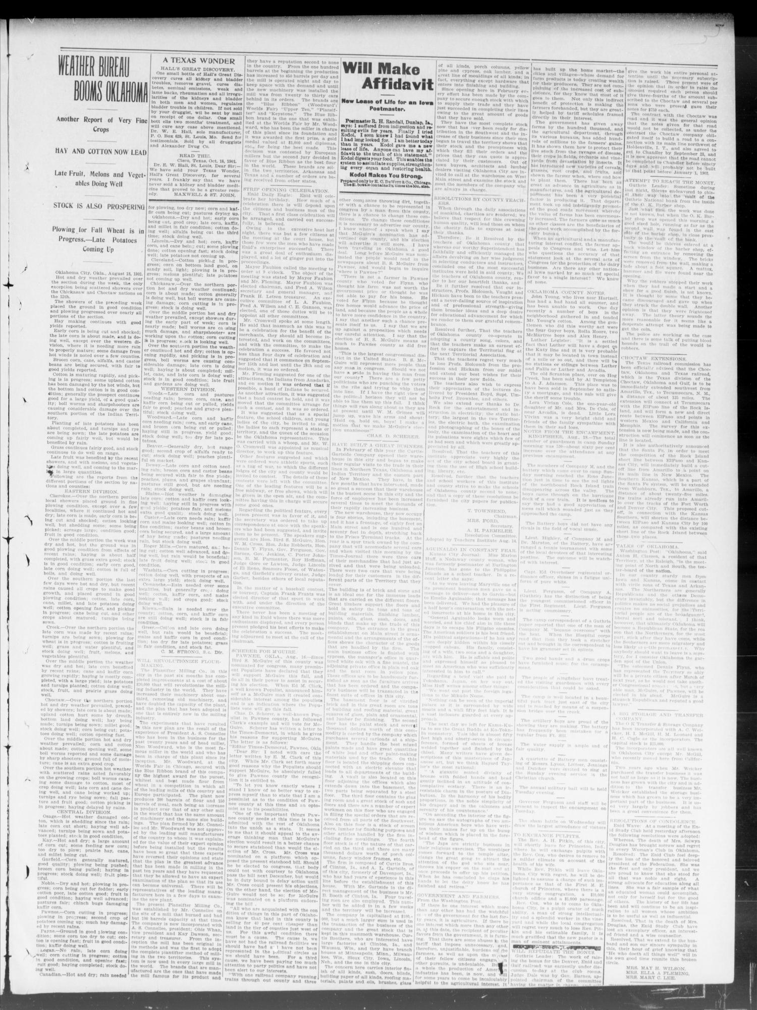 The Weekly Times-Journal. (Oklahoma City, Okla.), Vol. 14, No. 18, Ed. 1 Friday, August 22, 1902                                                                                                      [Sequence #]: 3 of 8