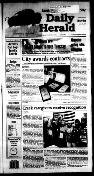 Primary view of Sapulpa Daily Herald (Sapulpa, Okla.), Vol. 95, No. 221, Ed. 1 Thursday, July 22, 2010