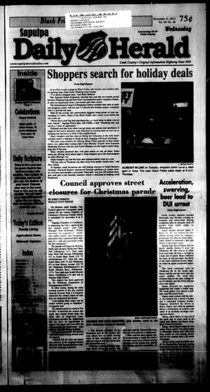 Primary view of object titled 'Sapulpa Daily Herald (Sapulpa, Okla.), Vol. 98, No. 48, Ed. 1 Wednesday, November 21, 2012'.