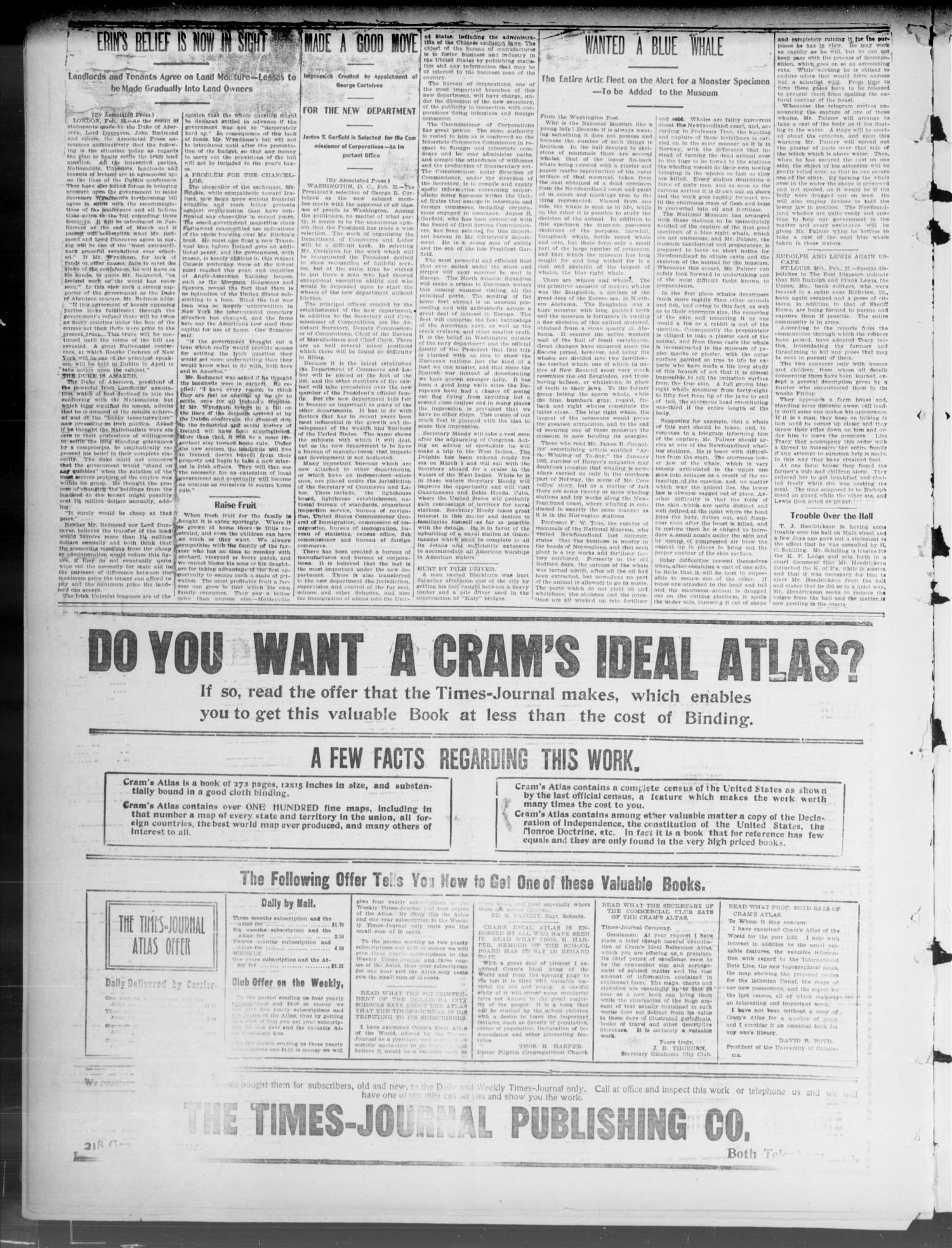 The Weekly Times-Journal. (Oklahoma City, Okla.), Vol. 14, No. 45, Ed. 1 Friday, February 27, 1903                                                                                                      [Sequence #]: 2 of 8