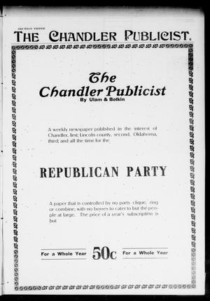 Primary view of object titled 'The Chandler Publicist (Chandler, Okla.), Vol. 13, No. 44, Ed. 3 Friday, March 1, 1907'.