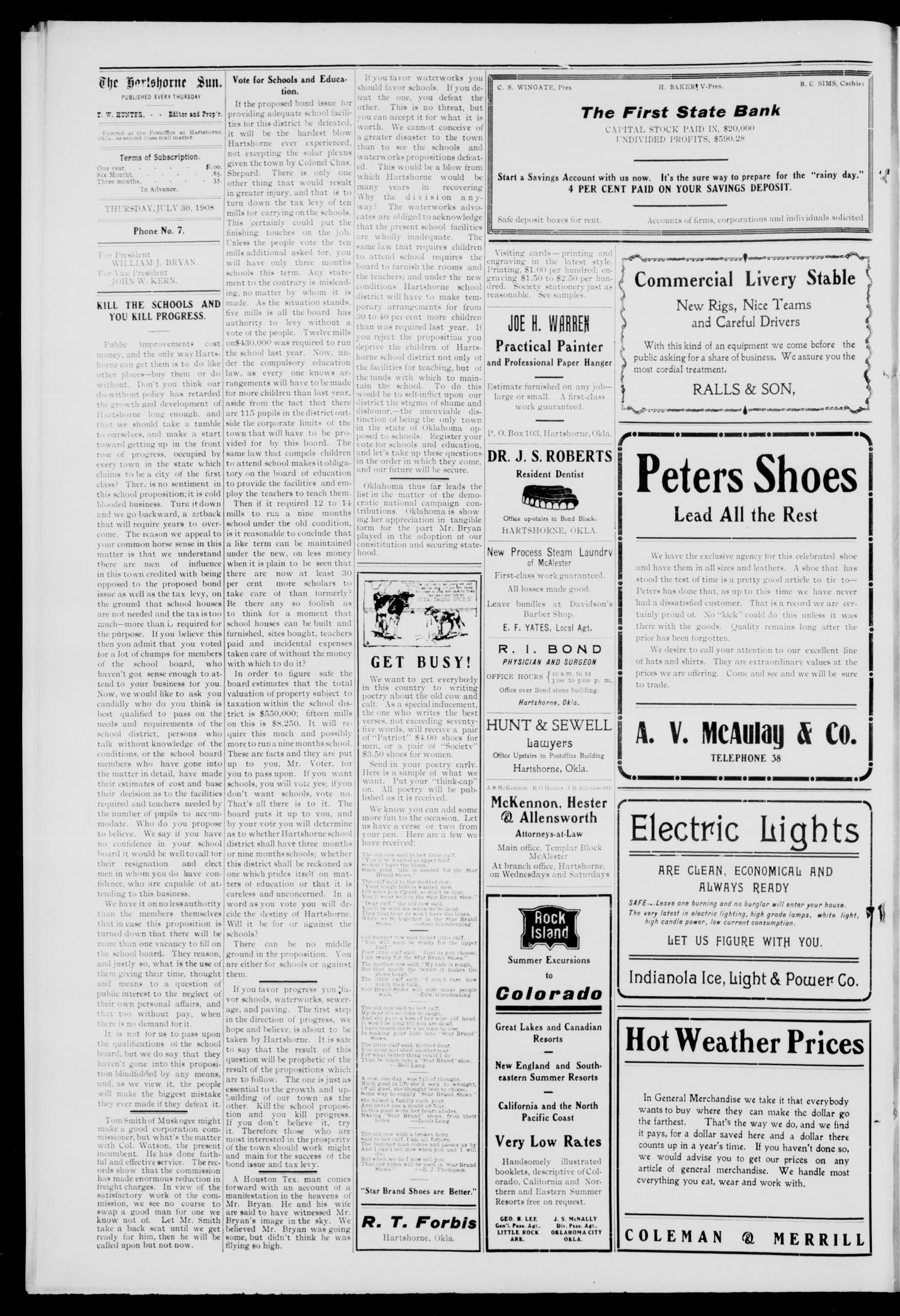 The Hartshorne Sun. (Hartshorne, Okla.), Vol. 14, No. 23, Ed. 1 Thursday, July 30, 1908                                                                                                      [Sequence #]: 4 of 8