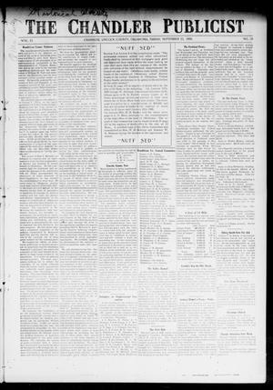 Primary view of object titled 'The Chandler Publicist (Chandler, Okla.), Vol. 15, No. 20, Ed. 1 Friday, September 11, 1908'.