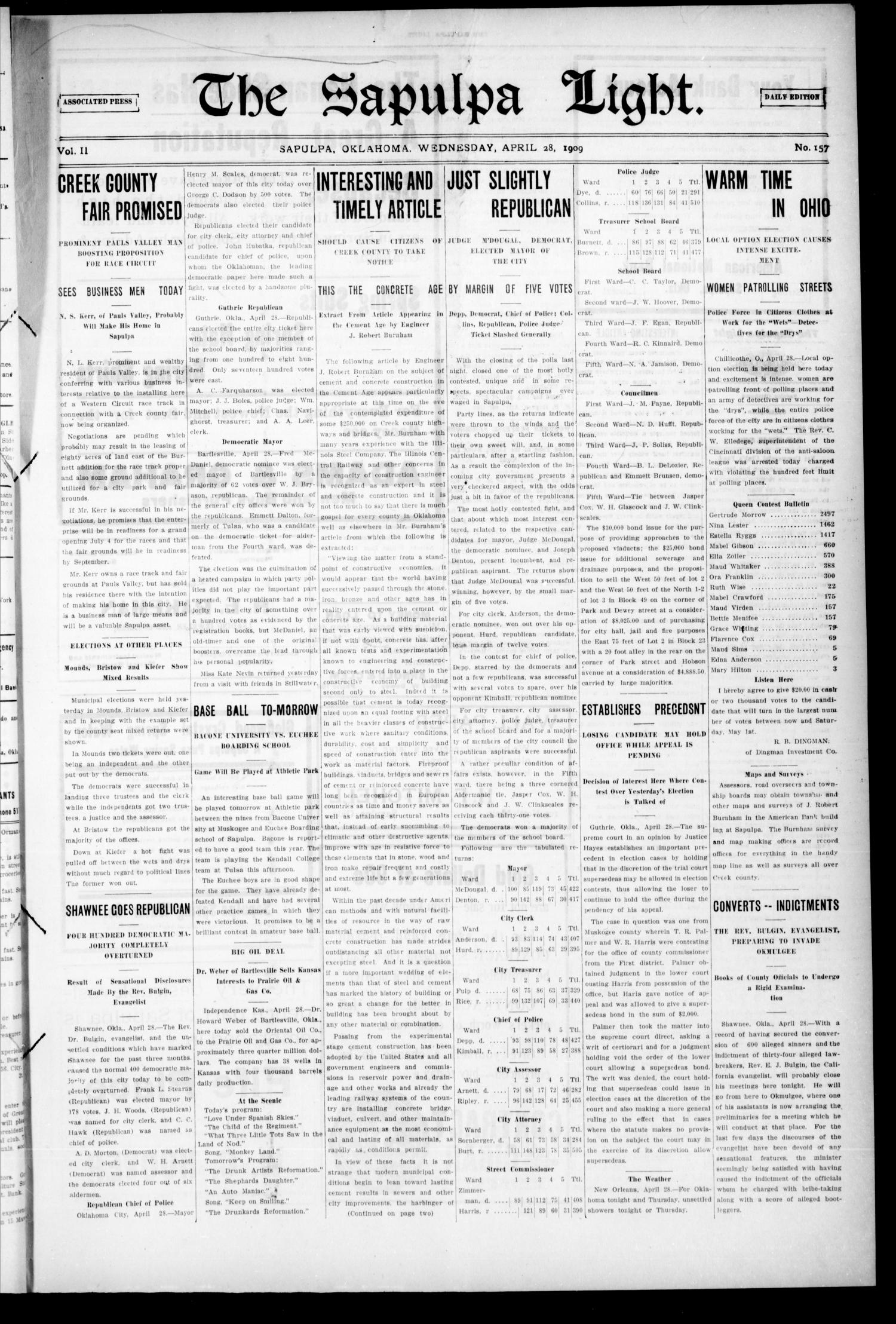 The Sapulpa Light. (Sapulpa, Okla.), Vol. 2, No. 157, Ed. 1 Wednesday, April 28, 1909                                                                                                      [Sequence #]: 1 of 4