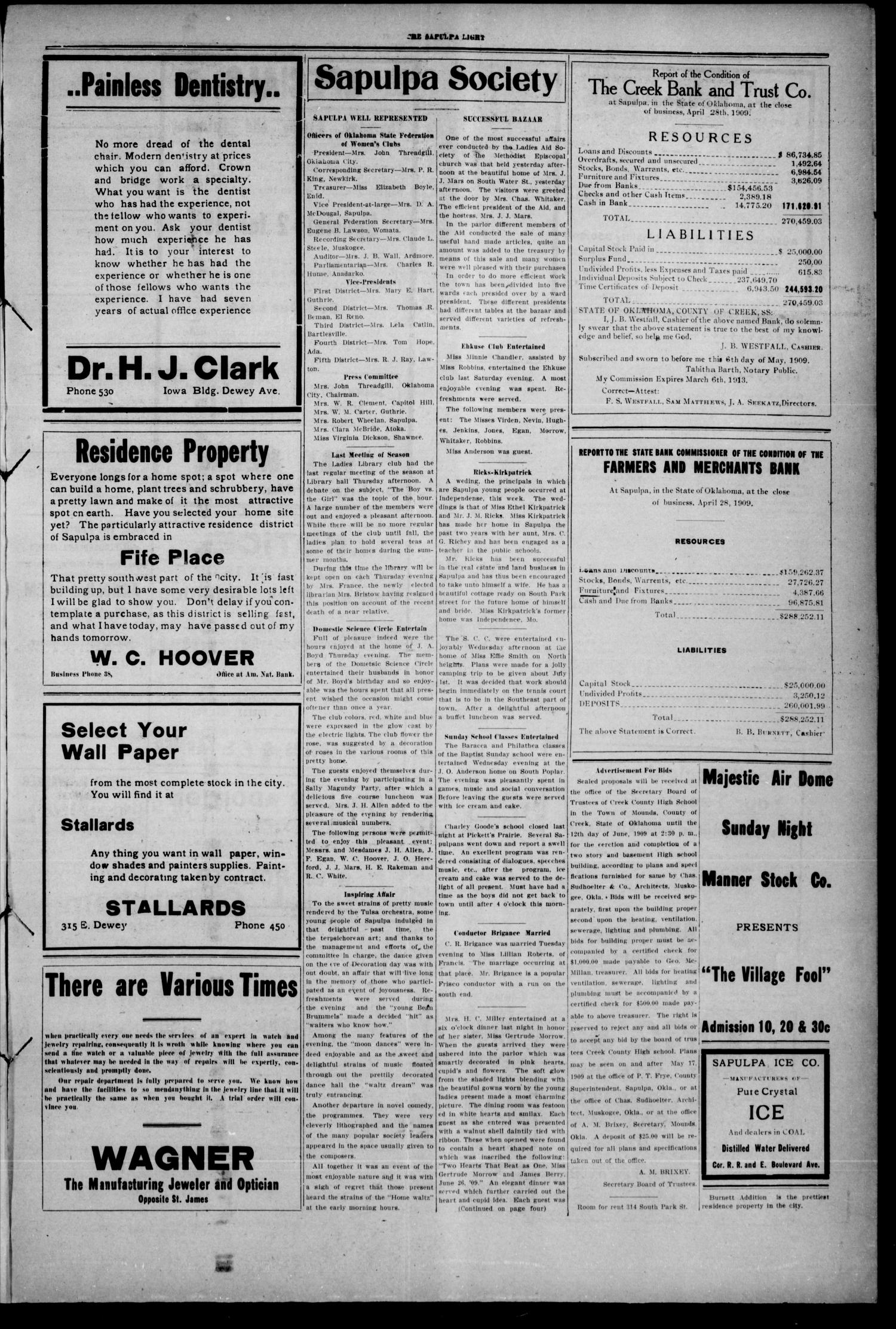 The Sapulpa Light. (Sapulpa, Okla.), Vol. 2, No. 184, Ed. 1 Saturday, May 29, 1909                                                                                                      [Sequence #]: 3 of 4