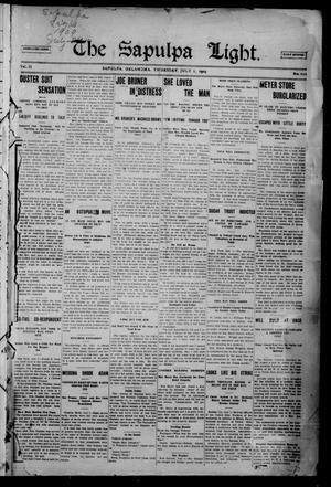Primary view of The Sapulpa Light. (Sapulpa, Okla.), Vol. 2, No. 212, Ed. 1 Thursday, July 1, 1909