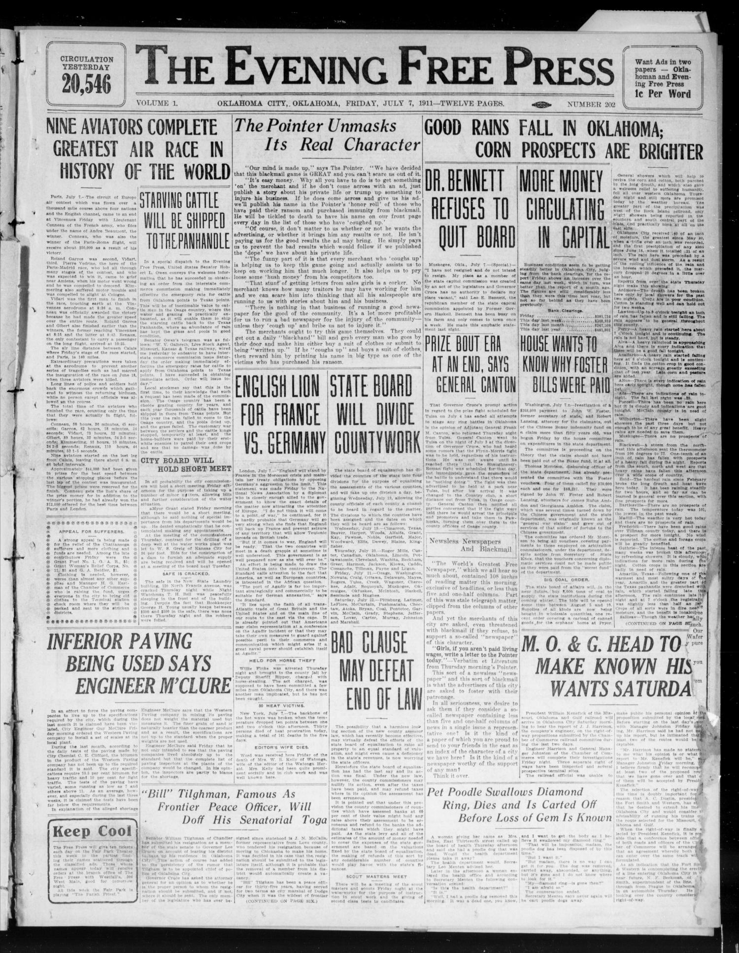 The Evening Free Press (Oklahoma City, Okla.), Vol. 1, No. 202, Ed. 1 Friday, July 7, 1911                                                                                                      [Sequence #]: 1 of 12