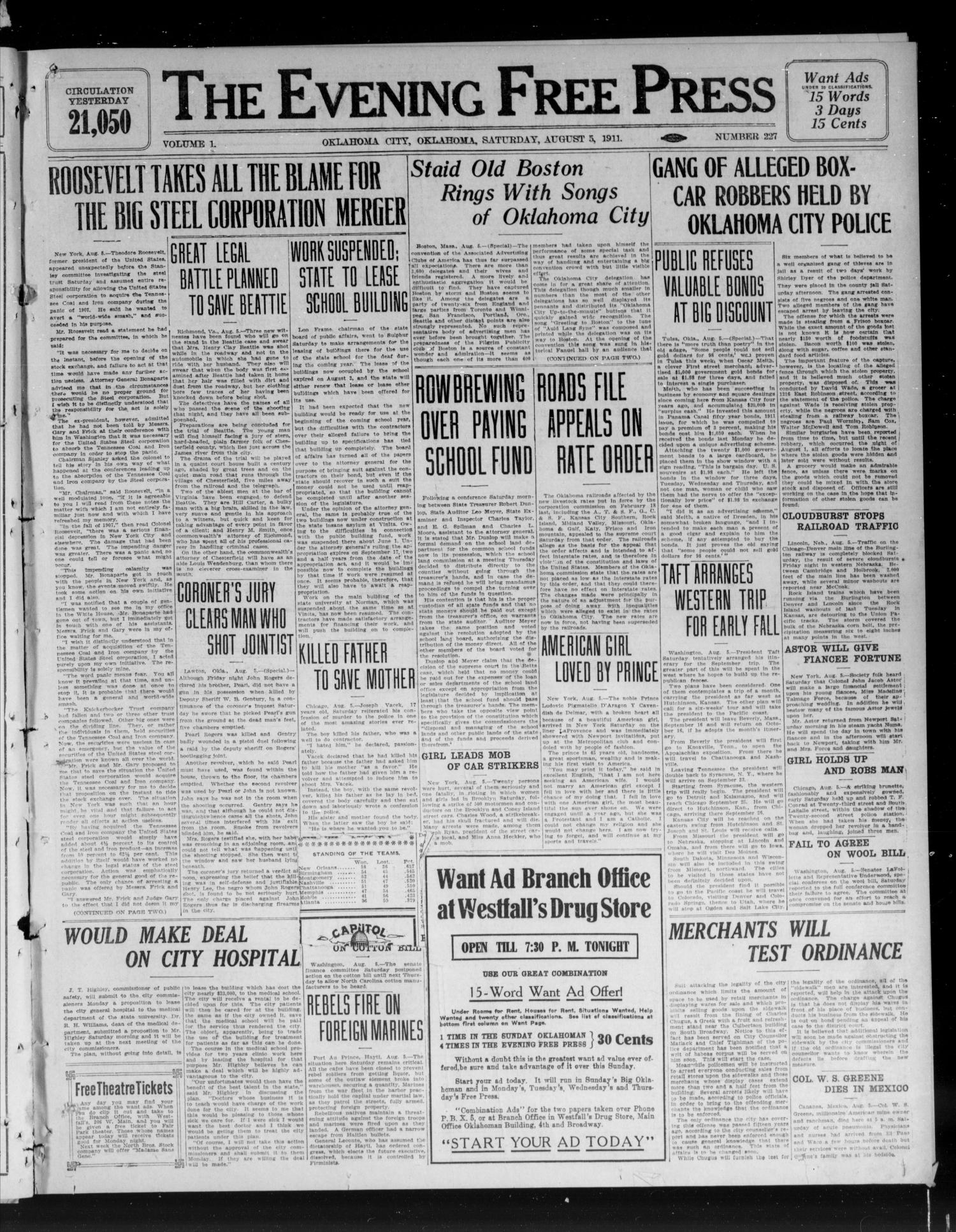 The Evening Free Press (Oklahoma City, Okla.), Vol. 1, No. 227, Ed. 1 Saturday, August 5, 1911                                                                                                      [Sequence #]: 1 of 8