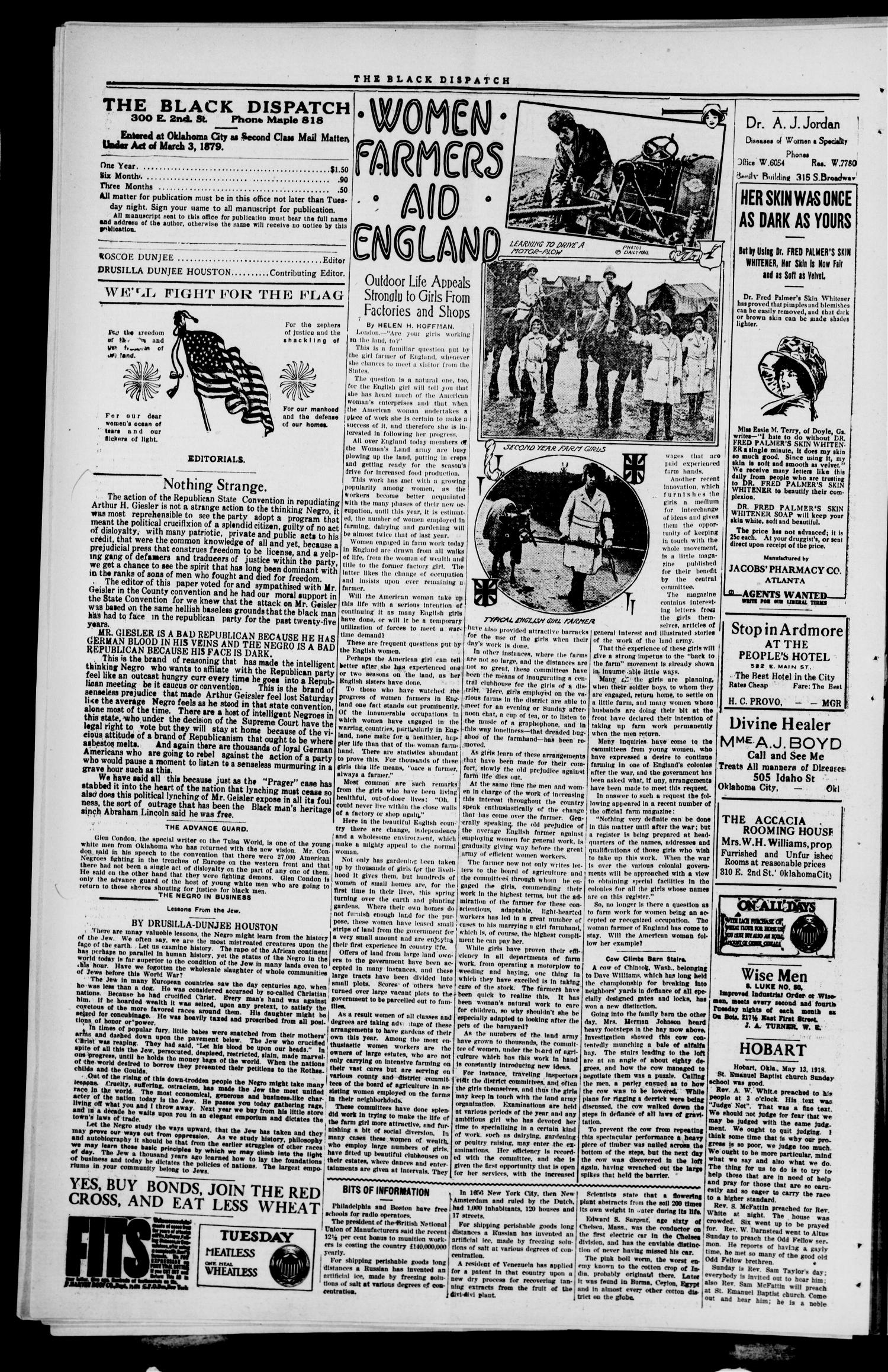 The Black Dispatch (Oklahoma City, Okla.), Vol. 5, No. 16, Ed. 1 Friday, May 17, 1918                                                                                                      [Sequence #]: 4 of 8