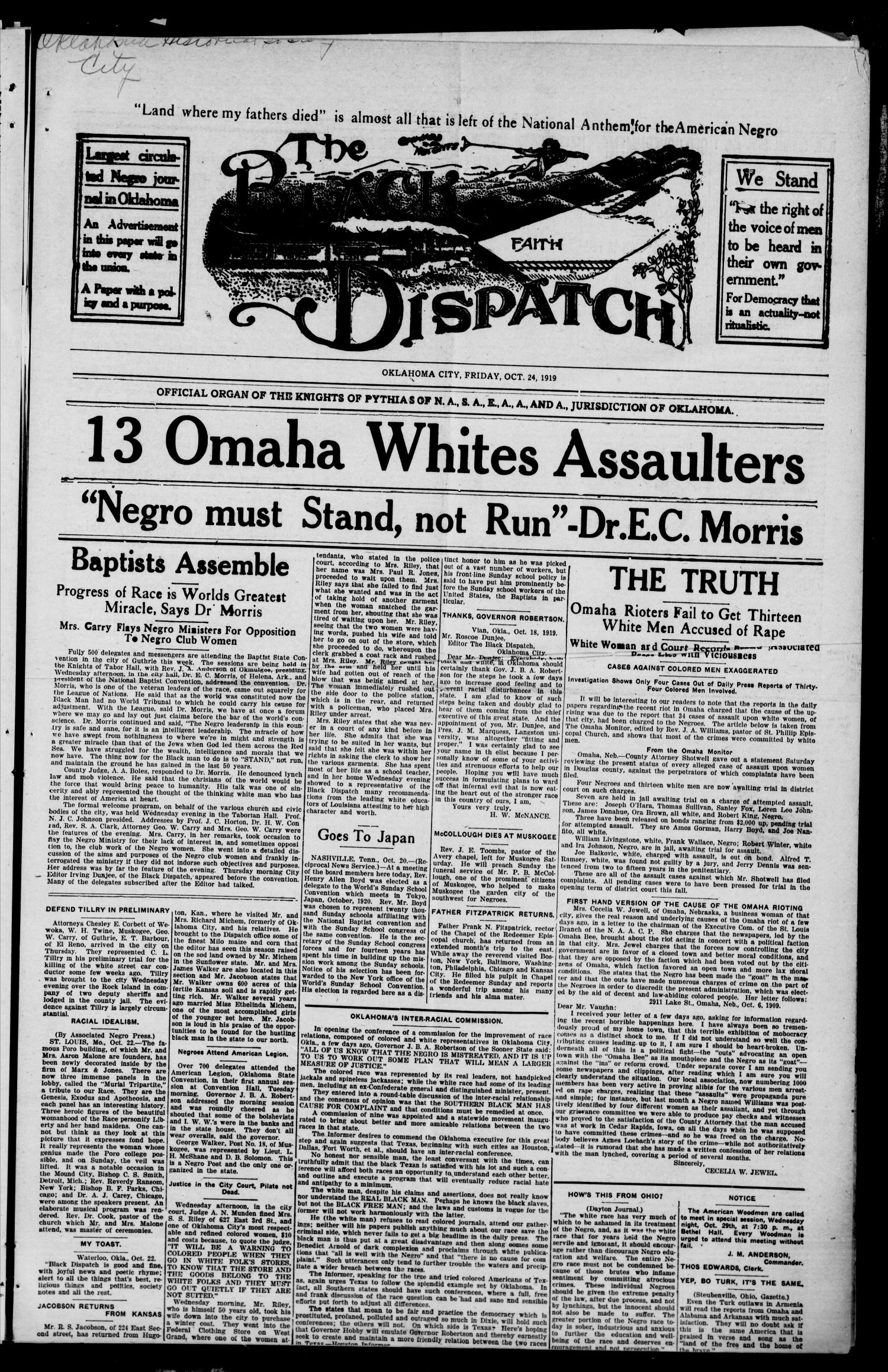 The Black Dispatch (Oklahoma City, Okla.), Vol. 5, No. 39, Ed. 1 Friday, October 24, 1919                                                                                                      [Sequence #]: 1 of 8