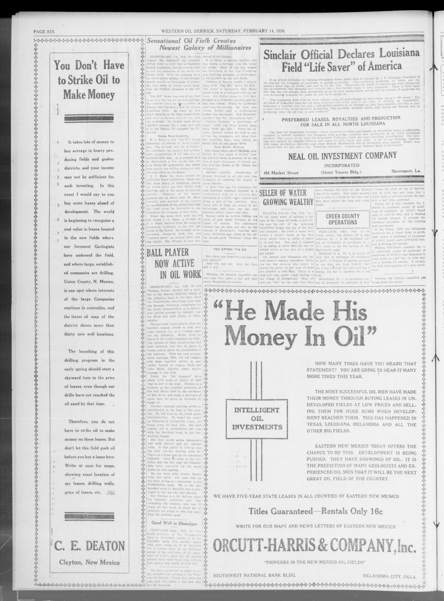 Western Oil Derrick (Oklahoma City, Okla.), Vol. 3, No. 7, Ed. 2 Saturday, February 14, 1920                                                                                                      [Sequence #]: 2 of 4