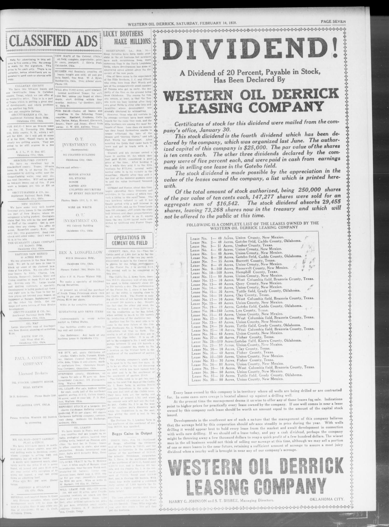 Western Oil Derrick (Oklahoma City, Okla.), Vol. 3, No. 7, Ed. 2 Saturday, February 14, 1920                                                                                                      [Sequence #]: 3 of 4