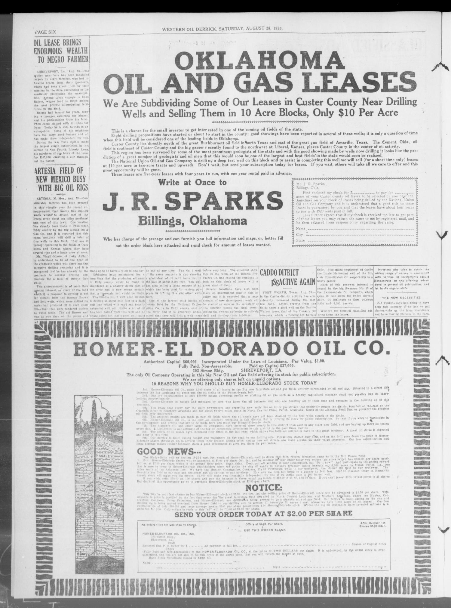 Western Oil Derrick (Oklahoma City, Okla.), Vol. 4, No. 9, Ed. 2 Saturday, August 28, 1920                                                                                                      [Sequence #]: 2 of 4