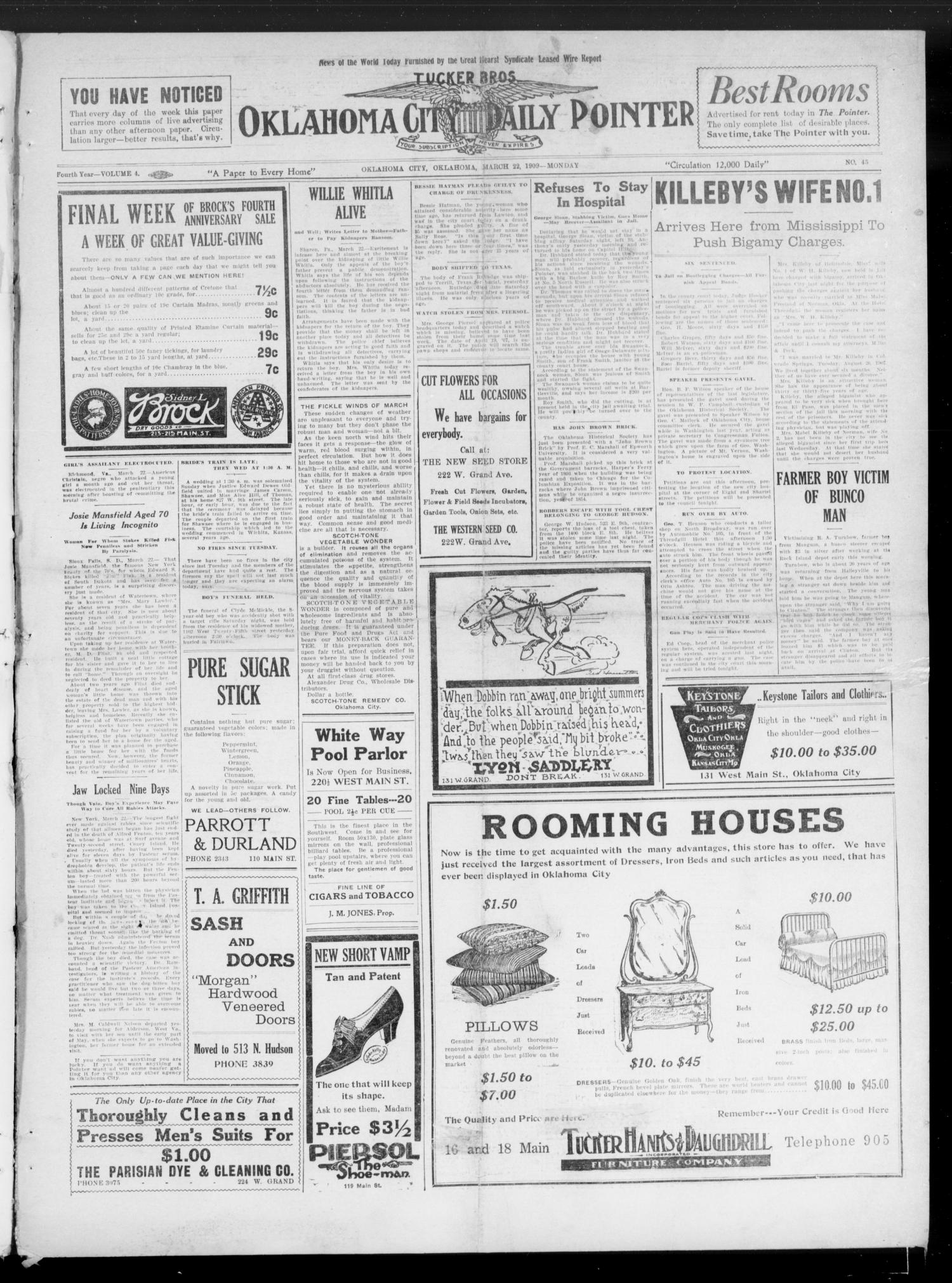Oklahoma City Daily Pointer (Oklahoma City, Okla.), Vol. 4, No. 45, Ed. 1 Monday, March 22, 1909                                                                                                      [Sequence #]: 1 of 4