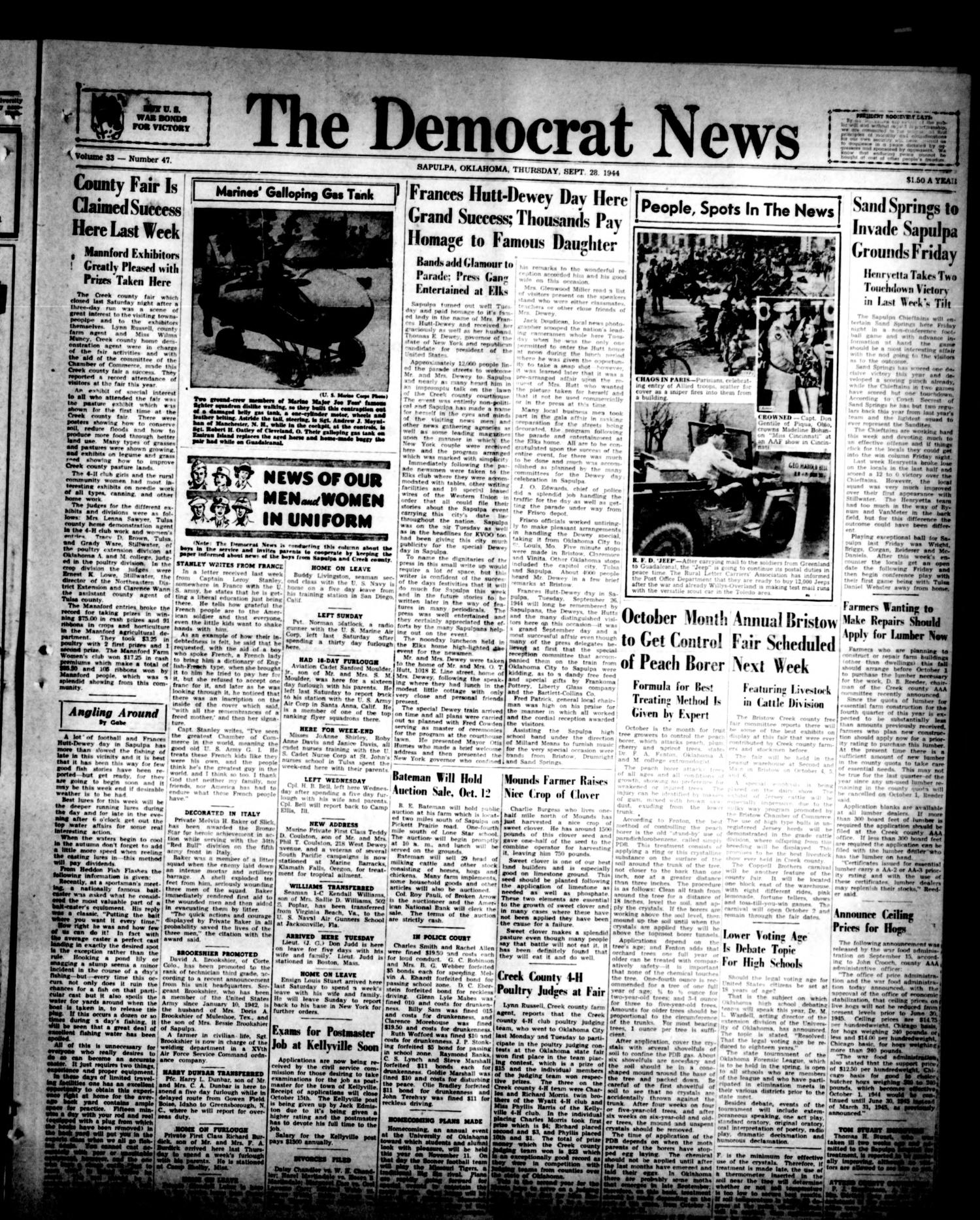 The Democrat News (Sapulpa, Okla.), Vol. 33, No. 47, Ed. 1 Thursday, September 28, 1944                                                                                                      [Sequence #]: 1 of 6