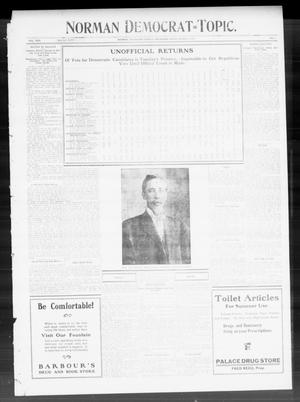 Primary view of object titled 'Norman Democrat--Topic. (Norman, Okla.), Vol. 22, No. 3, Ed. 1 Friday, August 5, 1910'.