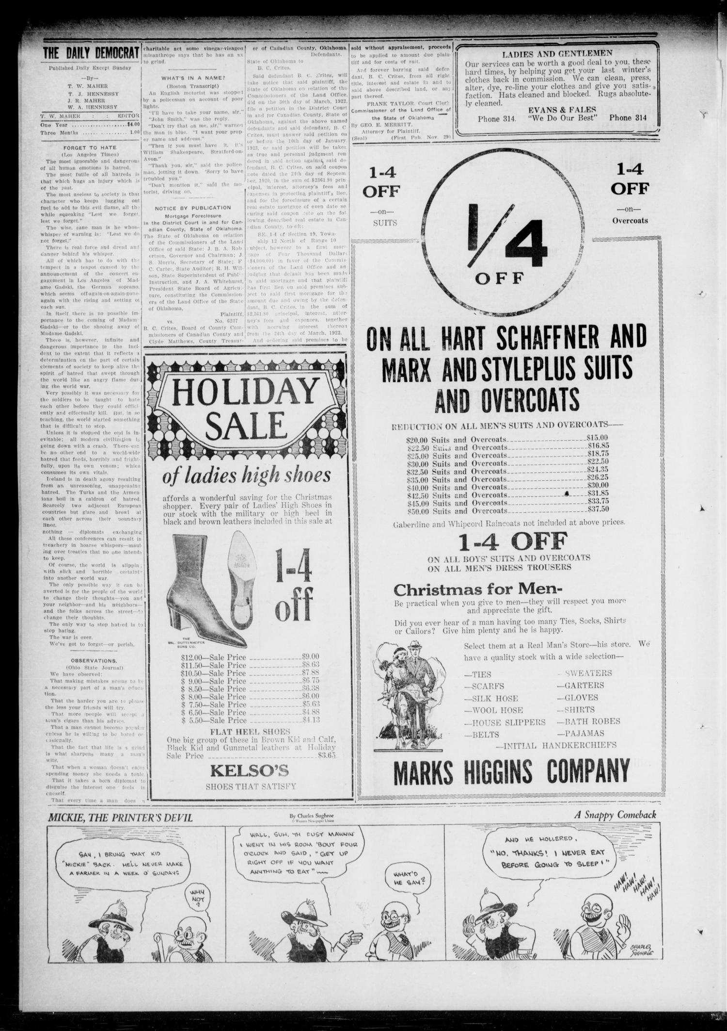 The El Reno Daily Democrat (El Reno, Okla.), Vol. 32, No. 87, Ed. 1 Monday, December 11, 1922                                                                                                      [Sequence #]: 2 of 4