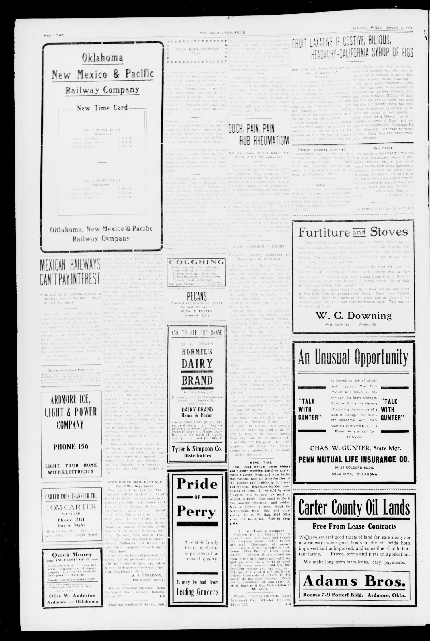 The Daily Ardmoreite. (Ardmore, Okla.), Vol. 20, No. 75, Ed. 1 Friday, January 2, 1914                                                                                                      [Sequence #]: 2 of 8