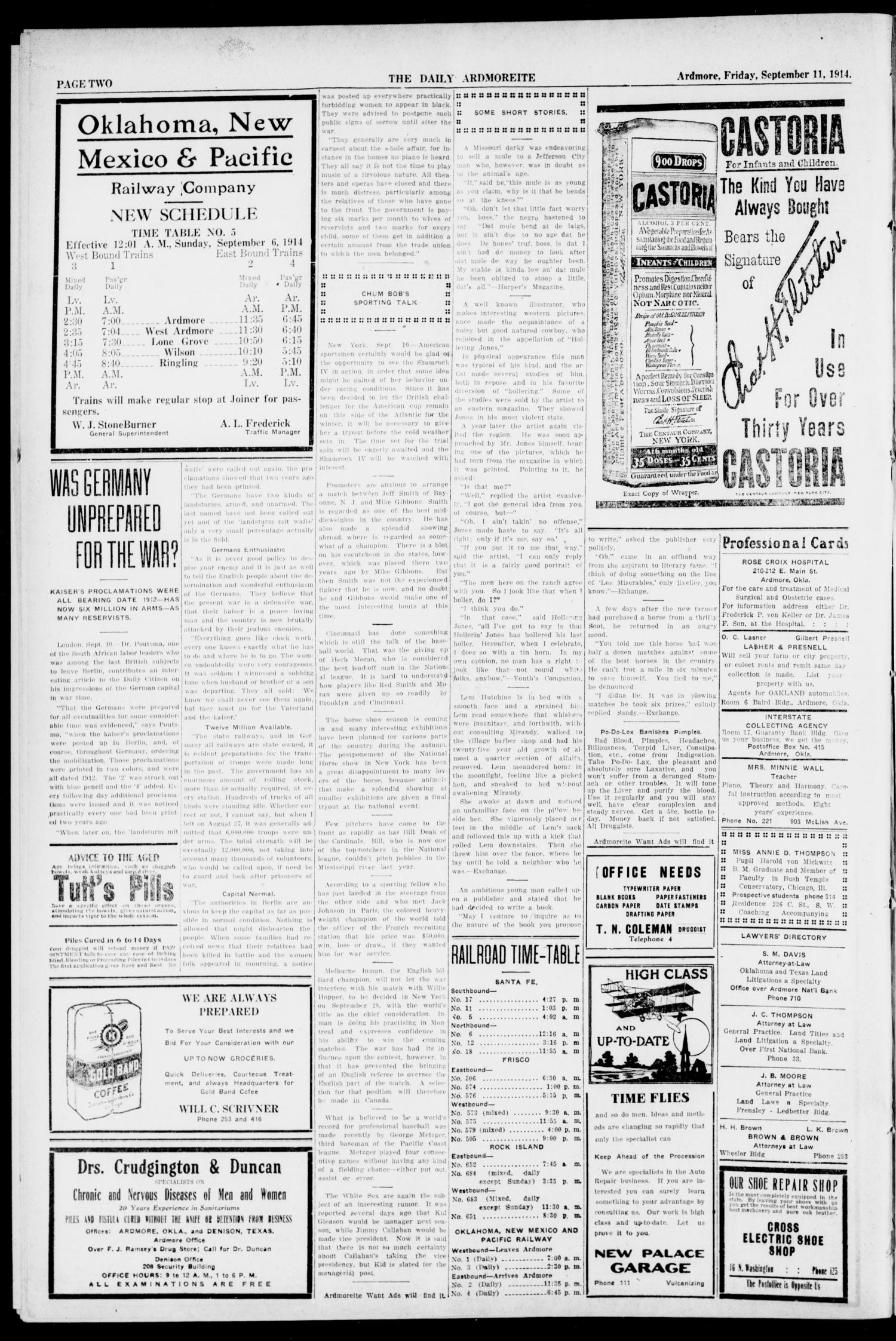 The Daily Ardmoreite. (Ardmore, Okla.), Vol. 20, No. 288, Ed. 1 Friday, September 11, 1914                                                                                                      [Sequence #]: 2 of 8
