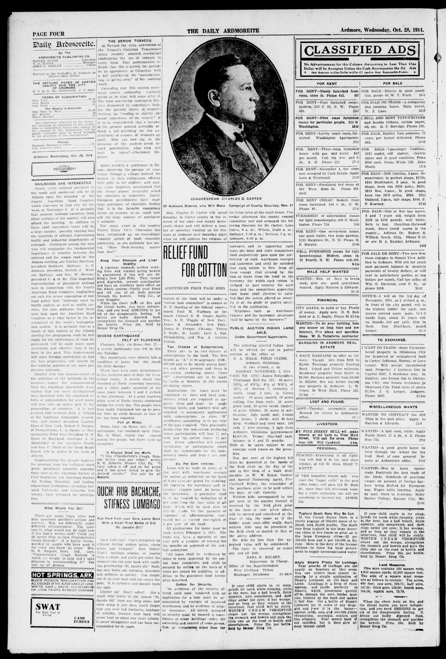 The Daily Ardmoreite. (Ardmore, Okla.), Vol. 21, No. 18, Ed. 1 Wednesday, October 28, 1914                                                                                                      [Sequence #]: 4 of 8