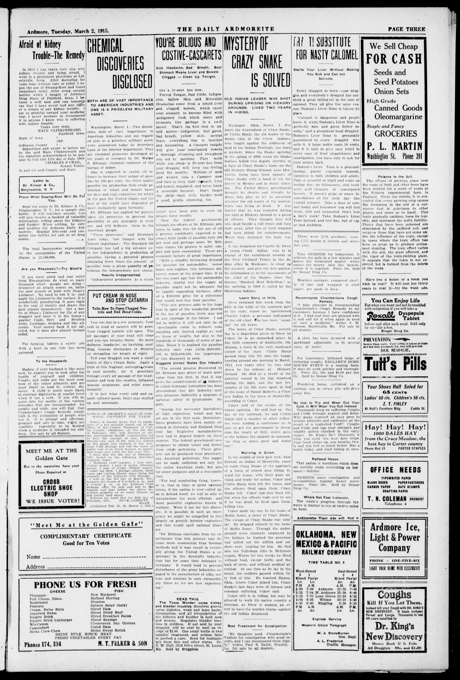 The Daily Ardmoreite. (Ardmore, Okla.), Vol. 21, No. 125, Ed. 1 Tuesday, March 2, 1915                                                                                                      [Sequence #]: 3 of 8