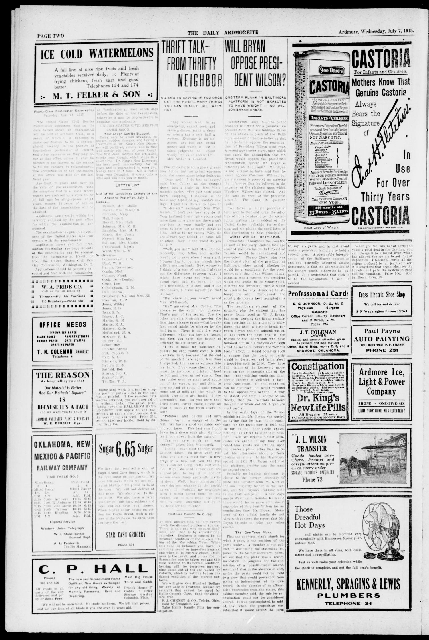 The Daily Ardmoreite. (Ardmore, Okla.), Vol. 21, No. 233, Ed. 1 Wednesday, July 7, 1915                                                                                                      [Sequence #]: 2 of 8