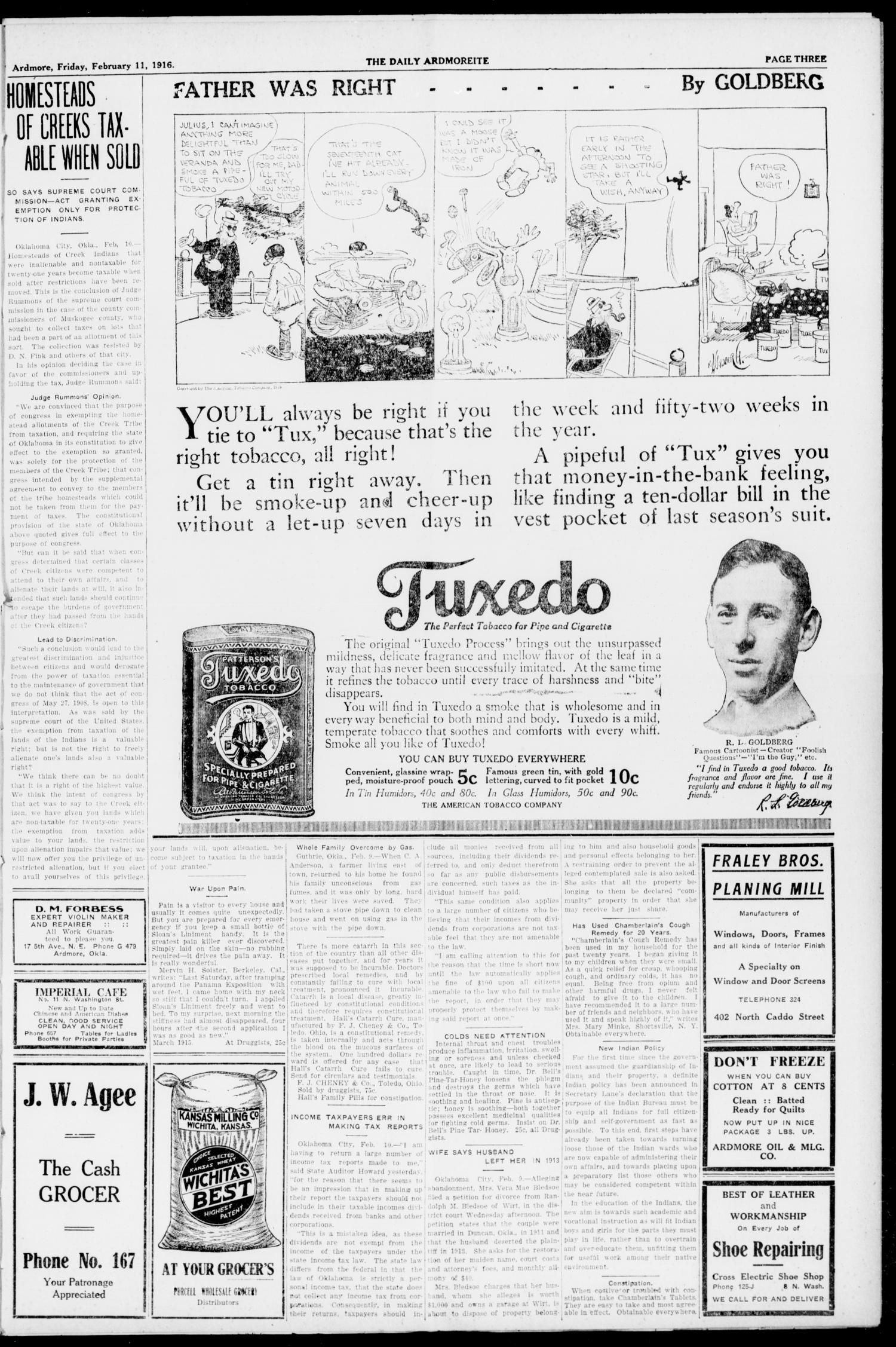 The Daily Ardmoreite. (Ardmore, Okla.), Vol. 23, No. 109, Ed. 1 Friday, February 11, 1916                                                                                                      [Sequence #]: 3 of 8