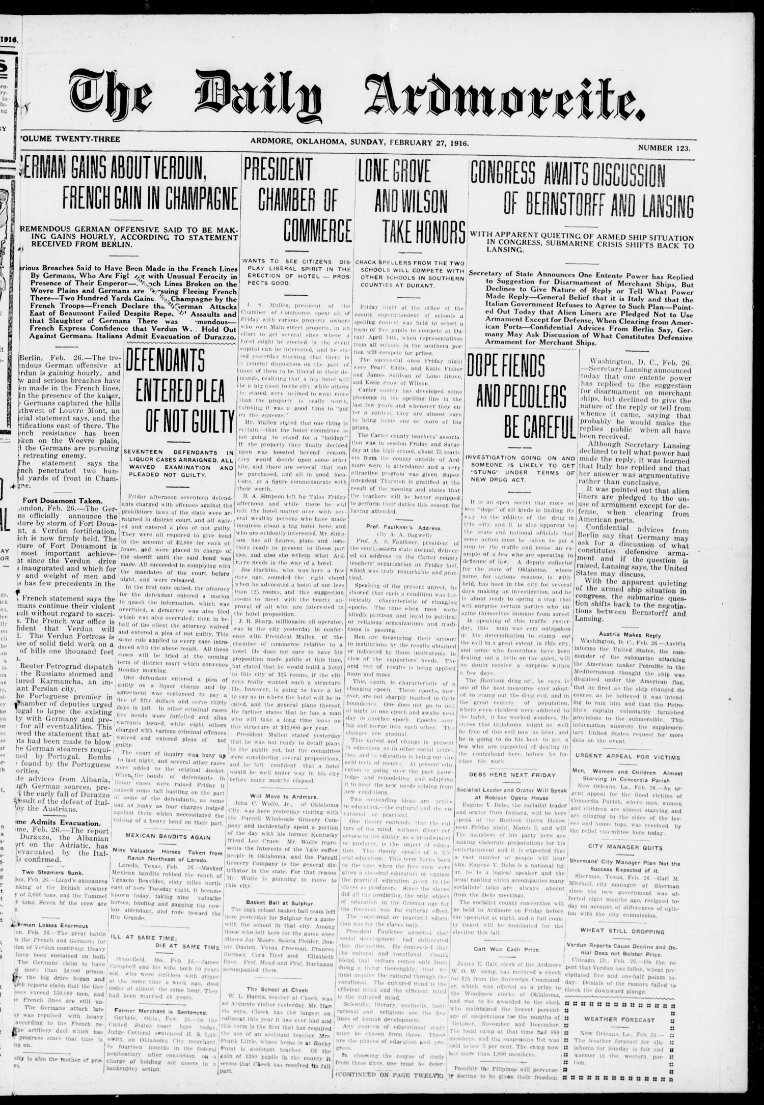 The Daily Ardmoreite. (Ardmore, Okla.), Vol. 23, No. 123, Ed. 1 Sunday, February 27, 1916                                                                                                      [Sequence #]: 1 of 12