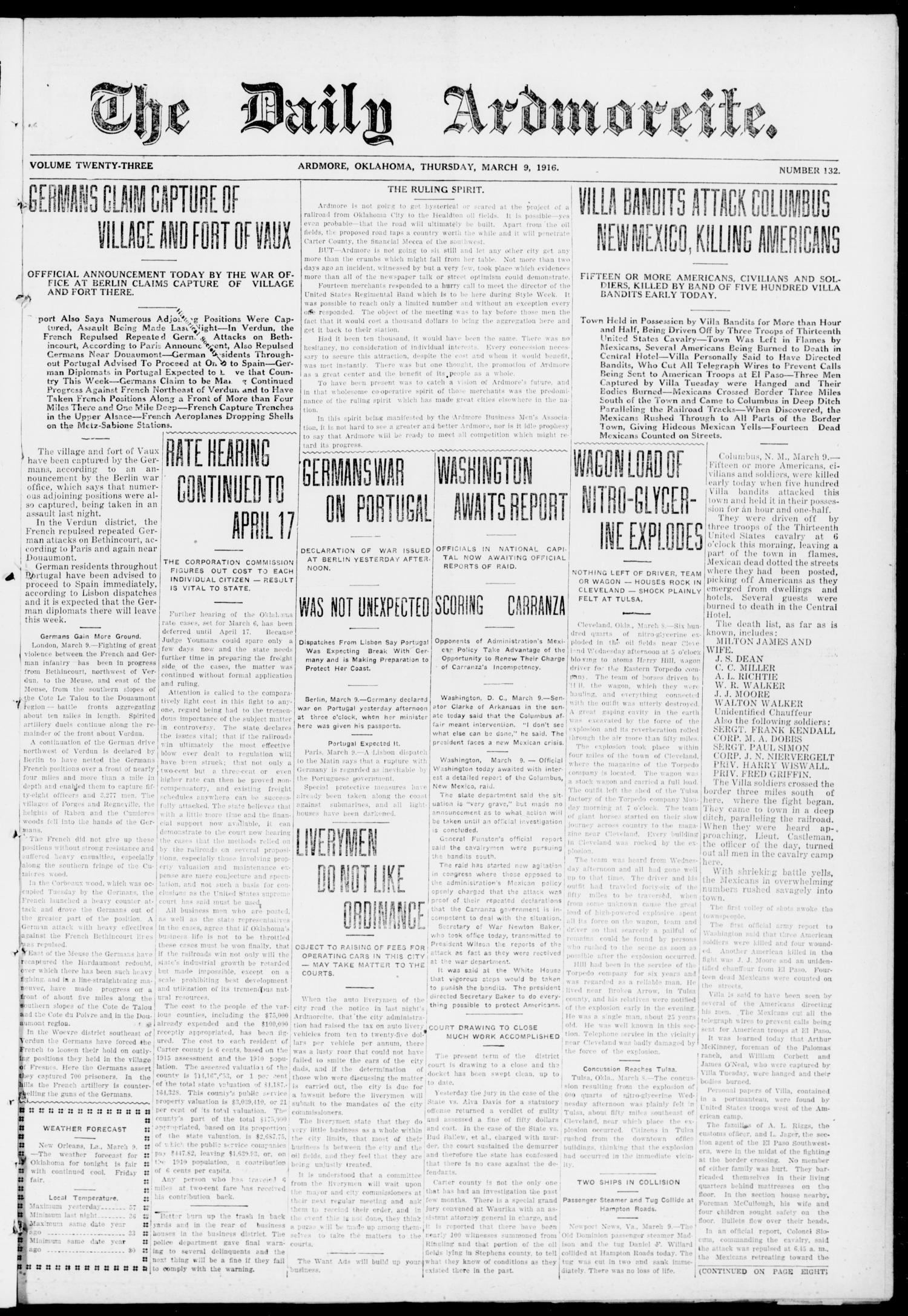 The Daily Ardmoreite. (Ardmore, Okla.), Vol. 23, No. 132, Ed. 1 Thursday, March 9, 1916                                                                                                      [Sequence #]: 1 of 8