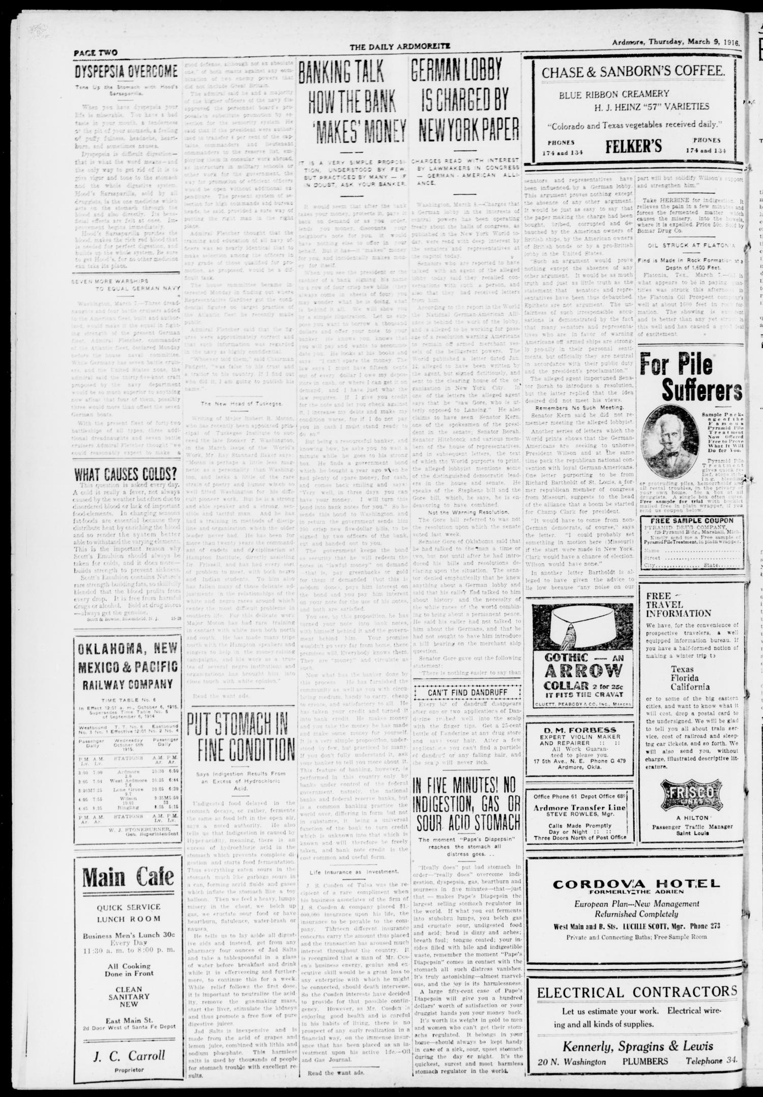 The Daily Ardmoreite. (Ardmore, Okla.), Vol. 23, No. 132, Ed. 1 Thursday, March 9, 1916                                                                                                      [Sequence #]: 2 of 8