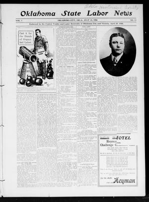 Primary view of object titled 'Oklahoma State Labor News (Oklahoma City, Okla.), Vol. 1, No. 11, Ed. 1 Friday, July 13, 1906'.