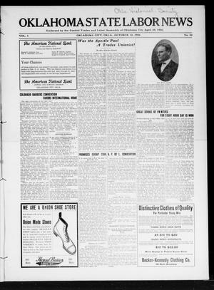 Primary view of object titled 'Oklahoma State Labor News (Oklahoma City, Okla.), Vol. 1, No. 24, Ed. 1 Friday, October 12, 1906'.