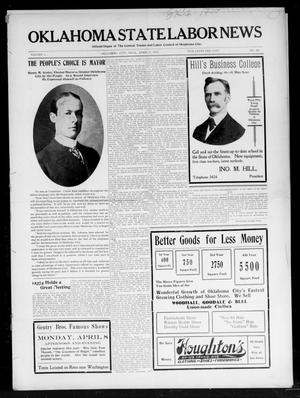 Primary view of object titled 'Oklahoma State Labor News (Oklahoma City, Okla.), Vol. 1, No. 49, Ed. 1 Friday, April 5, 1907'.