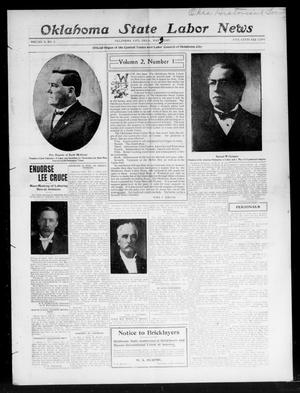 Primary view of object titled 'Oklahoma State Labor News (Oklahoma City, Okla.), Vol. 2, No. 1, Ed. 1 Friday, May 3, 1907'.