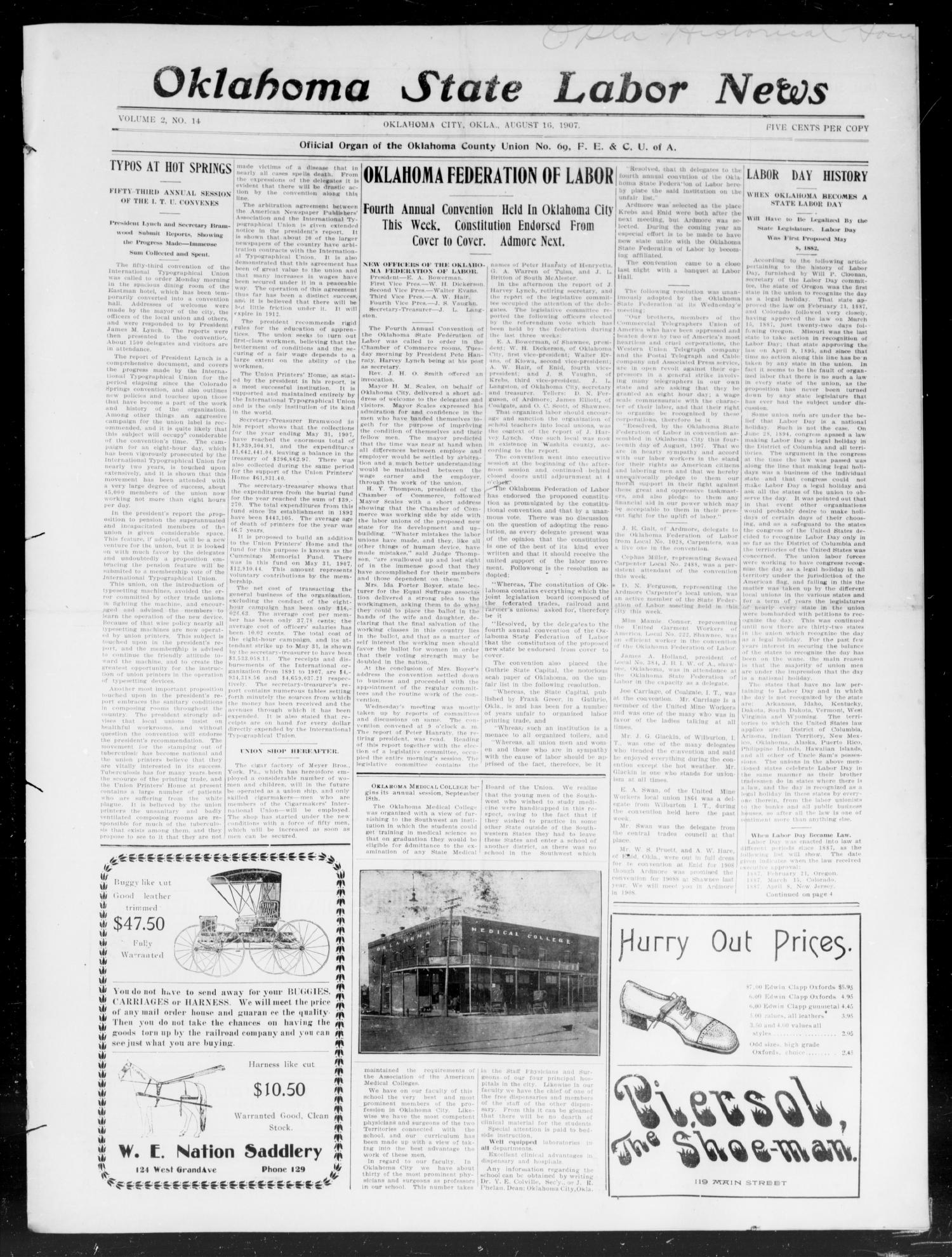 Oklahoma State Labor News (Oklahoma City, Okla.), Vol. 2, No. 14, Ed. 1 Friday, August 16, 1907                                                                                                      [Sequence #]: 1 of 4