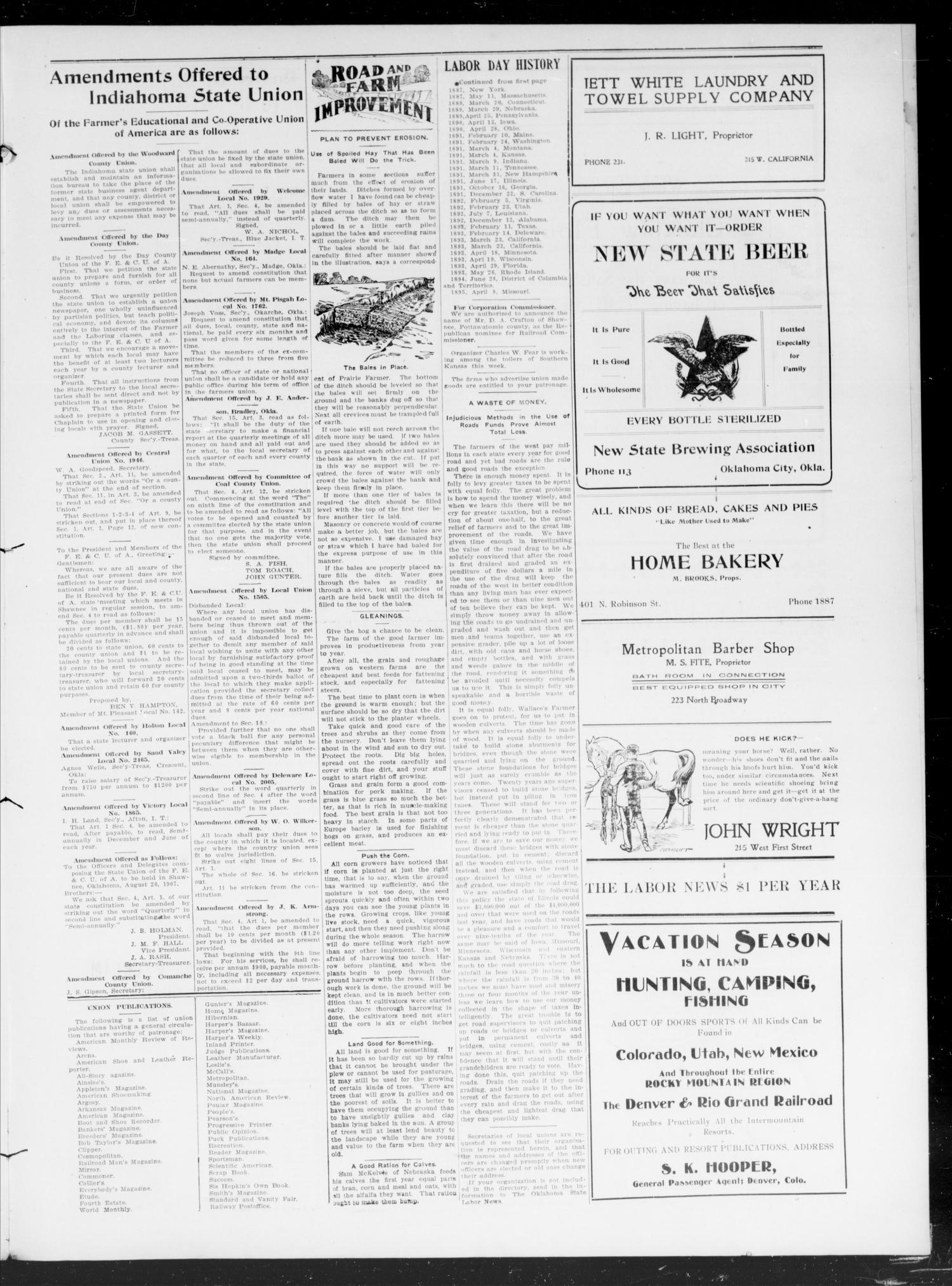 Oklahoma State Labor News (Oklahoma City, Okla.), Vol. 2, No. 14, Ed. 1 Friday, August 16, 1907                                                                                                      [Sequence #]: 3 of 4
