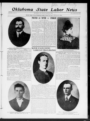 Primary view of object titled 'Oklahoma State Labor News (Oklahoma City, Okla.), Vol. 2, No. 16, Ed. 1 Friday, August 30, 1907'.
