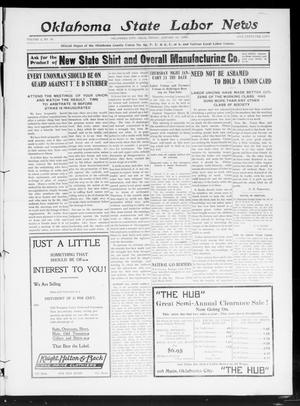Primary view of object titled 'Oklahoma State Labor News (Oklahoma City, Okla.), Vol. 2, No. 35, Ed. 1 Friday, January 3, 1908'.