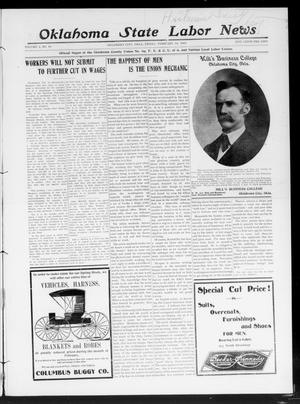 Primary view of object titled 'Oklahoma State Labor News (Oklahoma City, Okla.), Vol. 2, No. 40, Ed. 1 Friday, February 14, 1908'.