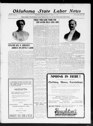 Primary view of object titled 'Oklahoma State Labor News (Oklahoma City, Okla.), Vol. 2, No. 44, Ed. 1 Friday, March 13, 1908'.