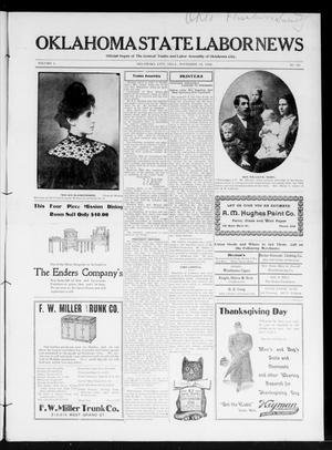 Primary view of Oklahoma State Labor News (Oklahoma City, Okla.), Vol. 1, No. 30, Ed. 1 Friday, November 23, 1906