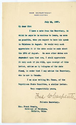 Primary view of object titled 'Letter to Governor Frank Frantz from Fred W. Carpenter'.