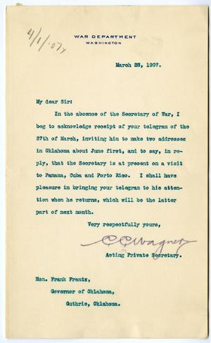 Primary view of object titled 'Letter from C.C. Wagner to Governor Frank Frantz'.