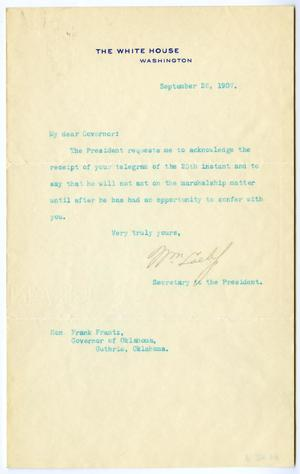 Primary view of object titled 'Letter from William Loebf, Secretary to the President to Frank Frantz'.