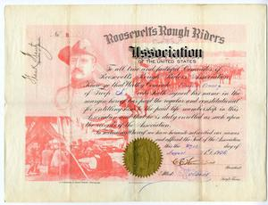 Primary view of object titled 'Certificate for Frank Frantz from the Roosevelt's Rough Riders Association'.