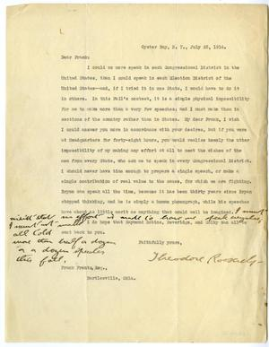 Primary view of object titled 'Letter from Theodore Roosevelt to Frank Frantz'.